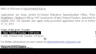 District Education Superintendent Chaibasa, Teacher Jobs