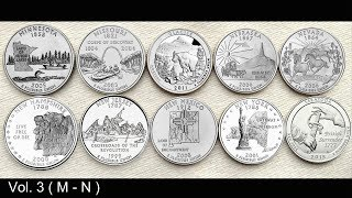 United States Mint's 50 State Quarters coin collection in Alphabetical order | Vol 3 ( M - N )