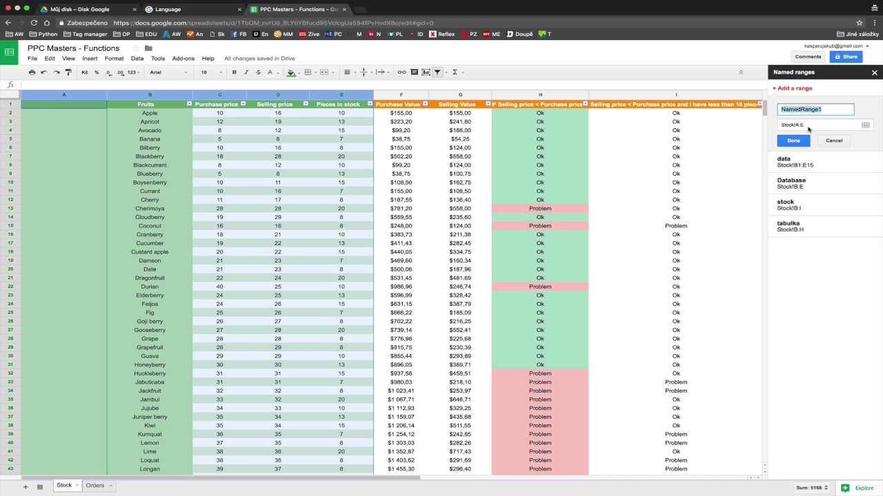 Exercises for IF, AND, VLOOKUP functions in Google Spreadsheet - PPC
