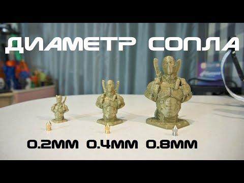 3д-печать: Диаметр сопла - 0.2мм 0.4мм 0.8мм