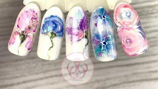 Акварель ГЕЛЬ ЛАКАМИ♥ЛЕГКИЙ дизайн ногтей  ЦВЕТЫ♥  Patrisa Nail