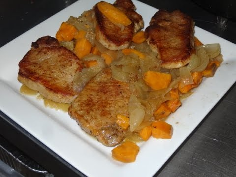 Dutch Oven Pork Chops With Apples And Sweet Potatoes