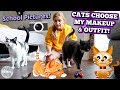 BACK TO SCHOOL! CATS CHOOSE MY MAKEUP & HAIR & OUTFIT!