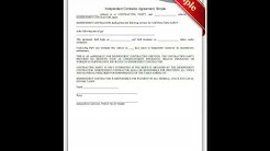 Free printable Independent Contractor Agreement Simple Forms