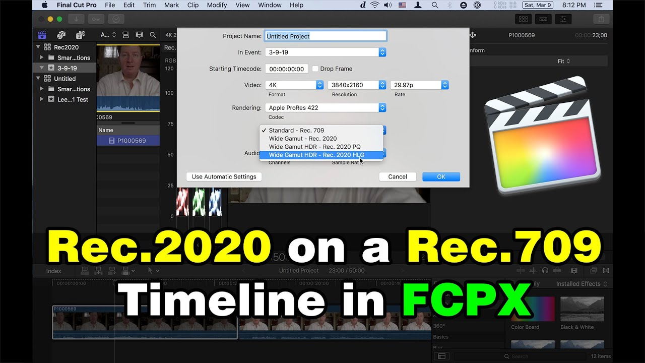 Using Rec 2020 HLG on a Rec 709 timeline in FCPX