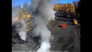 10/21/2018 The final train 216 of the 2018 season departs Chama, NM with 11 cars behind double heade