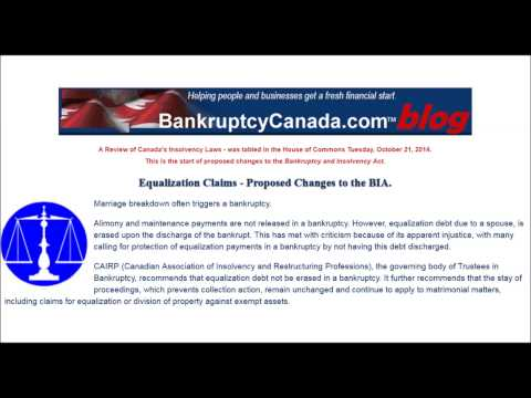Equalization Claims - Proposed Changes to the Bankruptcy and Insolvency Act.