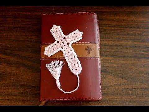 Beautiful Crochet Cross Bookmark tutorial - Left Handed