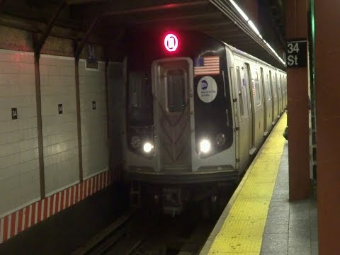 BMT Broadway Local: Single R160B Astoria Ditmars Boulevard Bound N Train At 34th St Herald Square