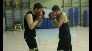 Обучение защит от ударов руками в парах.