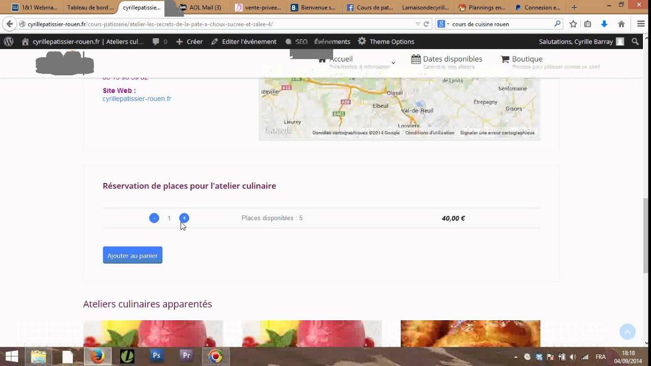 Ateliers culinaires , Réservation et paiement