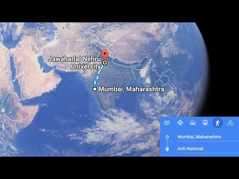 Delhi JNU on Google Maps branded as Anti-National