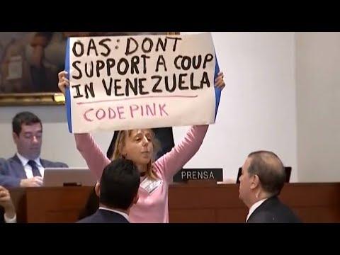 CodePink's Medea Benjamin Disrupts Pompeo Speech to Denounce U.S. Regime Change Agenda in Venezuela