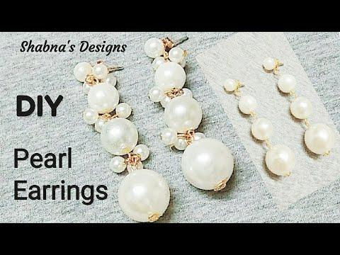 2 DIY Pearl Earrings // How To Make Earrings At Home // Shabna's Designs