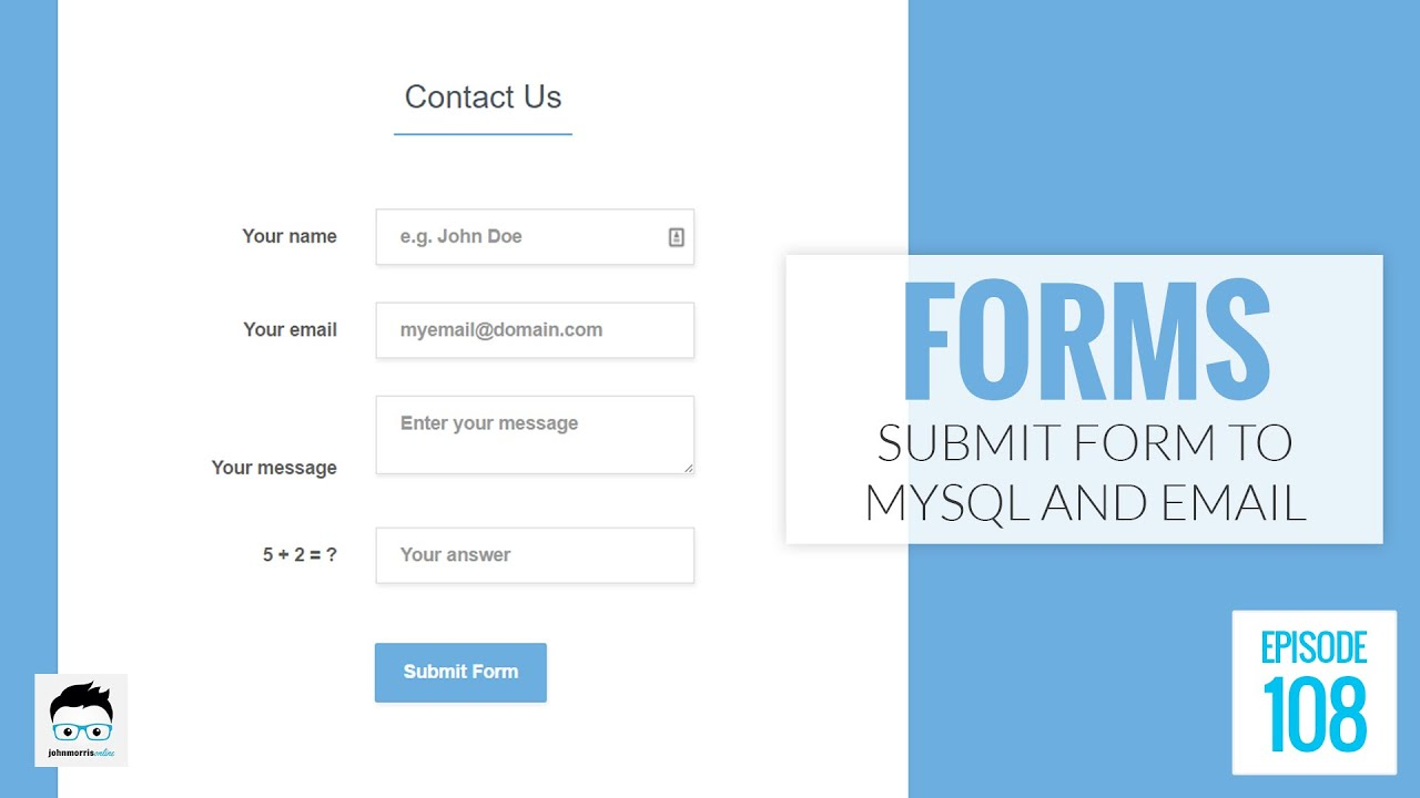 submit an online html form to both mysql and email using php youtube