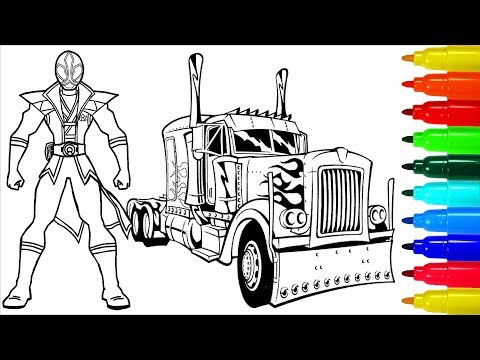 Power Rangers Samurai Truck Coloring Pages | Colouring Pages for Kids with Colored Markers