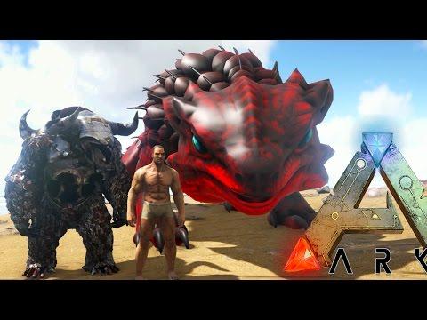 Ark Survival Evolved - MEGA THORNY DRAGON, MINOTAUR (Ark: Scorched Earth Modded Gameplay)