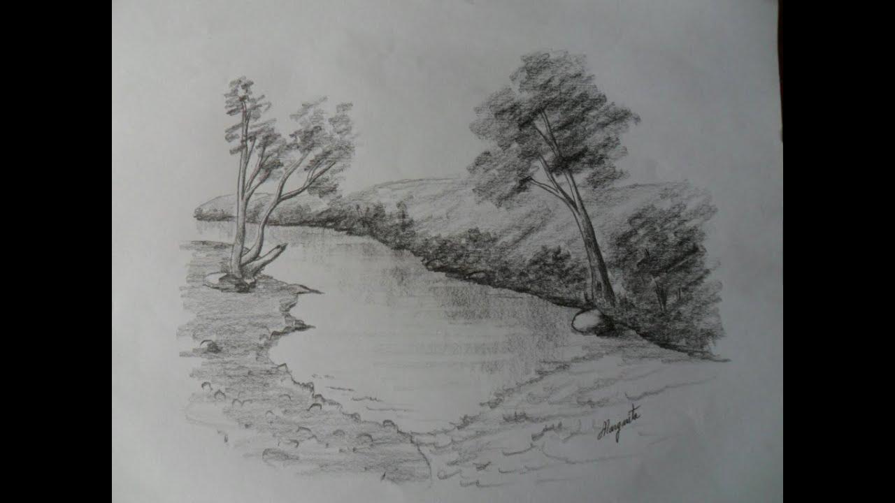 Dibujar Paisaje a Lpiz Dibujo rpido que descansa y Ejercita la