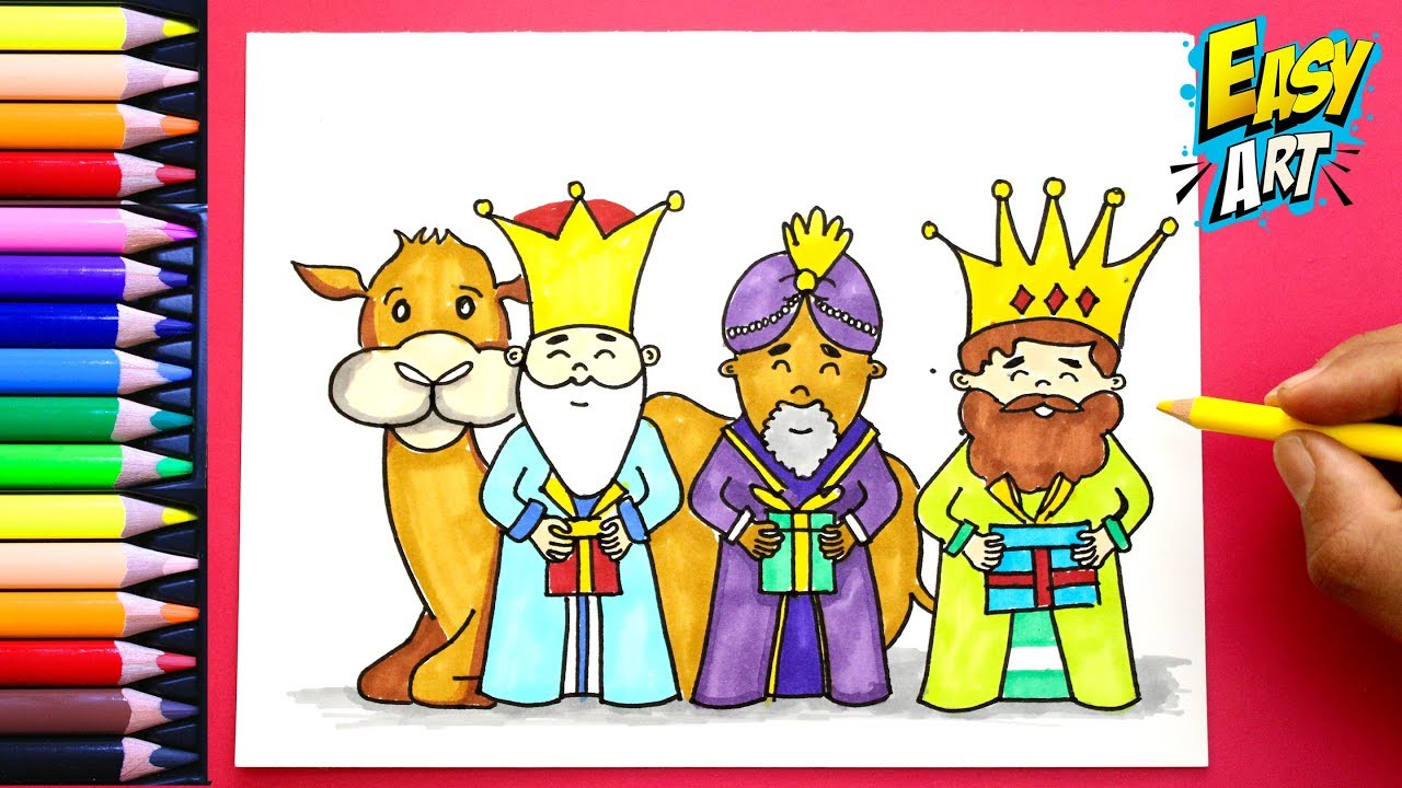 Como Dibujar Los Reyes Magos Navidad How To Draw Wise Men Color