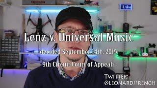 Copyright Fair Use in 2016: Lenz v Universal Music