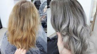 Перекрасить волосы из теплого желтого в холодный пепельный цвет.