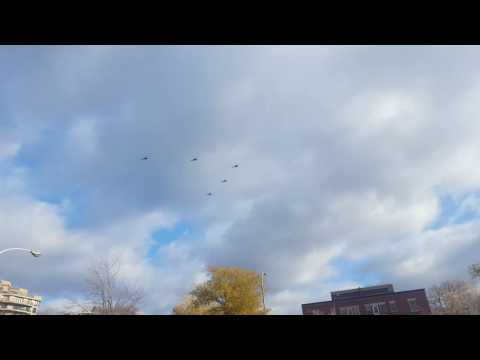 Military helicopters information over Montreal.