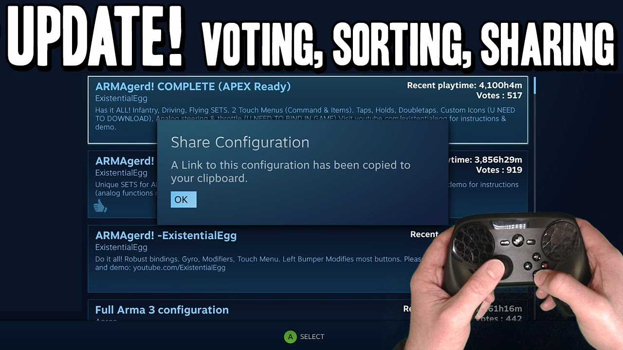 Steam Controller Update! Community Profile Voting, Sorting, Sharing &  Better Offline Support!