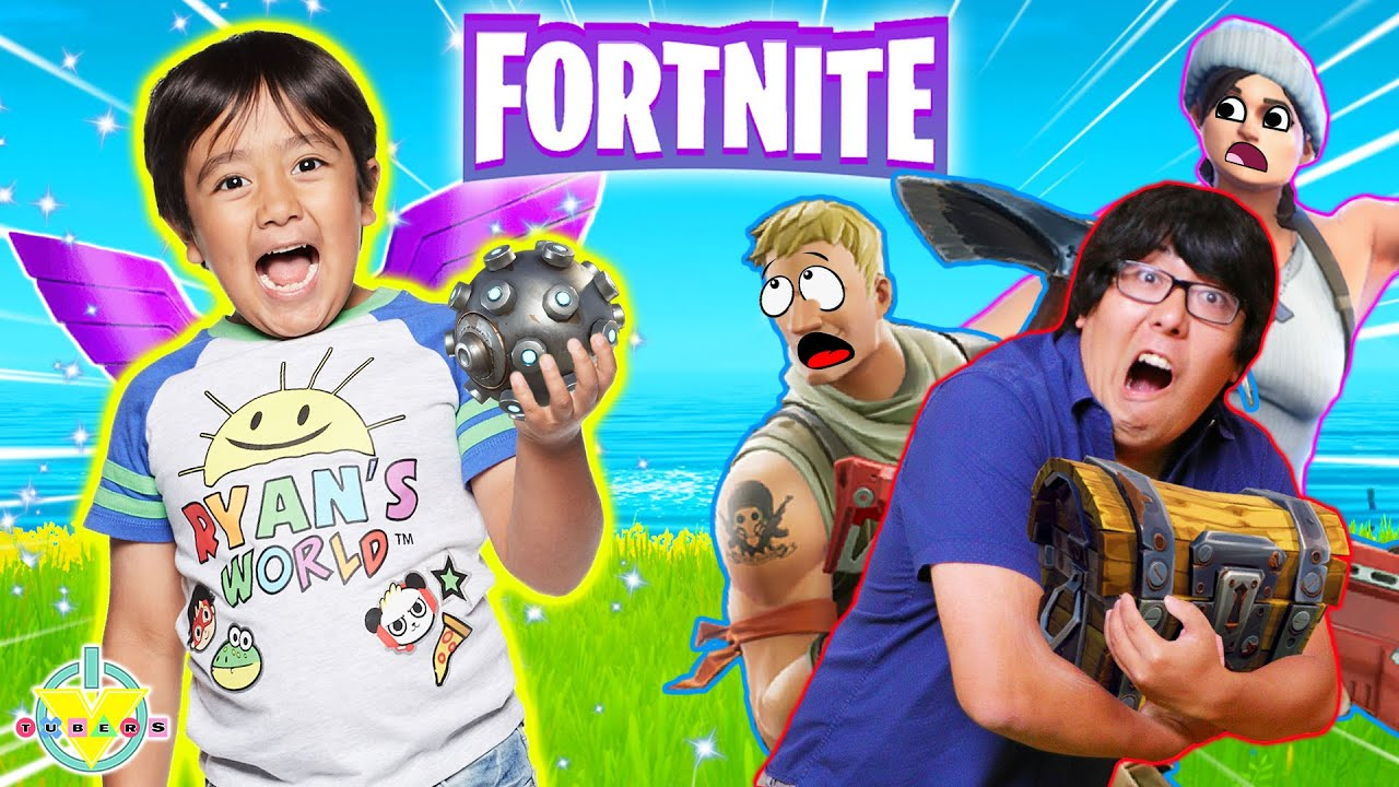 Ryan plays Fortnite with TITANS! Let's Play Fortnite Ryan vs Daddy