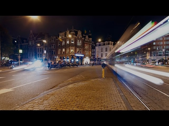 Amsterdam - Muntplein by Night Panning Timelapse