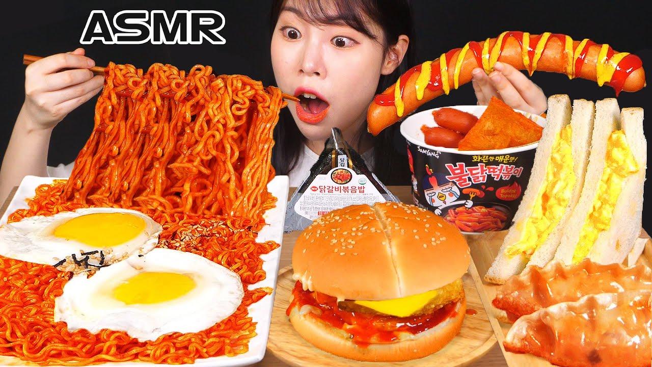 ASMR MUKBANG| 편의점 직접 만든 핵불닭 떡볶이 햄버거 김밥 디저트 먹방 & 레시피 HAMBURGER AND Tteokbokki EATING