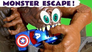 Hot Wheels Cars Monster Escape with Disney Marvel and DC Universe Superheroes