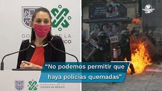 La jefa de gobierno Claudia Sheinbaum, negó que en la movilización feminista del 28 de septiembre se usara gas lacrimógeno contra las manifestantes