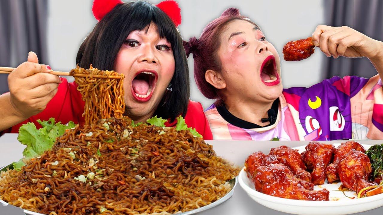 ฮาน่า กินมาม่าเผ็ดเกาหลี และ ไก่ทอดราดซอส สุดอร่อย กับ พิพปี้
