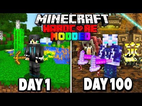 I Survived 100 Days in Hardcore Modded Minecraft.. (1000+ Mods)