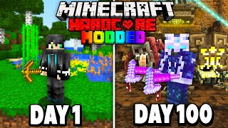 I Survived 100 Days in Hardcore Modded Minecraft.. (1000+ Mods)