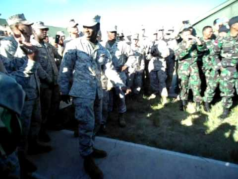 U.S. Marine takes on Indonesian Air Force officer in impromptu dance off during Khaan Quest 2011