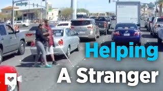 Good Samaritan Helps Blind Man Crossing Street | Humankind