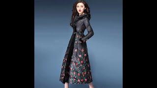 Женское зимнее пальто с поясом длинное свободное капюшоном и цветочным принтом утепленная куртка