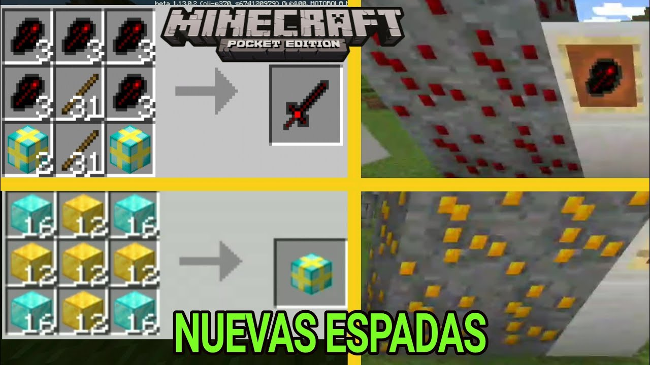 Ores y espadas PARA MINECRAFT PE 1.13+ Bedrock swords Add-On Mcpe 1.13.0.2 #1