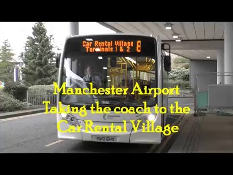 On the courtesy coach from the Terminal to the Car Rental Village, Manchester airport, UK