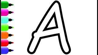 Coloring Glitter Alphabet A-Z  Learn ABCDEFGHIJKLMNOPQRSTUVWXYZ Coloring Page