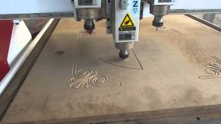 China Supplier Philicam-ruofen Three Spindle Wood Cnc Router Work Video