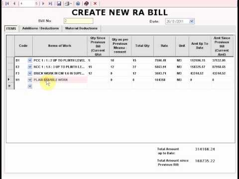 RA BILL -- A SOFTWARE FOR RUNNING ACCOUNT BILLING OF CIVIL ENGINEERING ITEM RATE CONTRACTS.