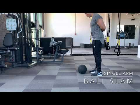 Single-Arm Ball SLAM (Exercise Tutorial) // Fitness Penpal thumbnail
