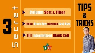 3 Secret and Very Important Tips and Tricks in Excel Bangla #2018