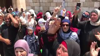 Palestinians celebrate as Aqsa security set-up removed