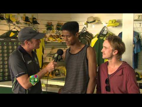 At the cricket with Harry Potter stars: Alfred Enoch and Tom Felton