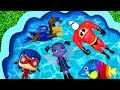 Learn Colors with Pj Masks, Frozen, Paw Patrol and Minions for Kids and Children Pool