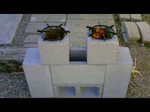 "The ""6 Block"" Rocket Stove! DIY - ""DUAL BURNER"" Rocket Stove! (Concrete Block Rocket Stove) DIY"