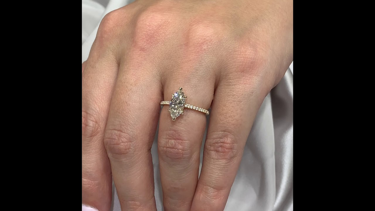 1.40 ct Marquise Diamond Yellow Gold Engagement Ring